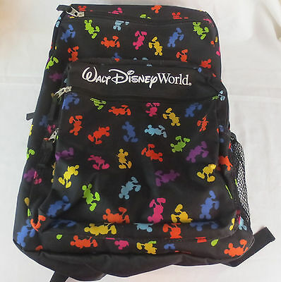 New NWT Walt Disney World Mickey Mouse Black with Color Silhouettes Backpack
