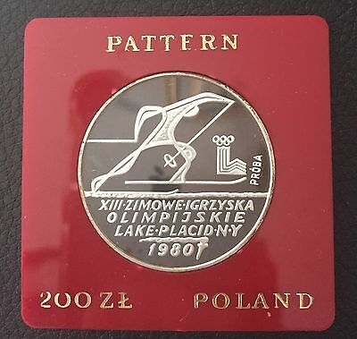1980 Poland Silver Proof Coin 200 Zlotych  Lake Placid Olympics XIII Proba Test