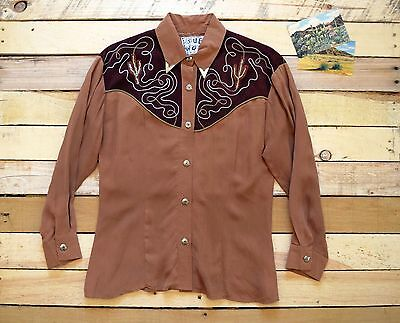 VTG Women's Petite M-L 80s SUE WONG Western Embroidered Cactus Blouse