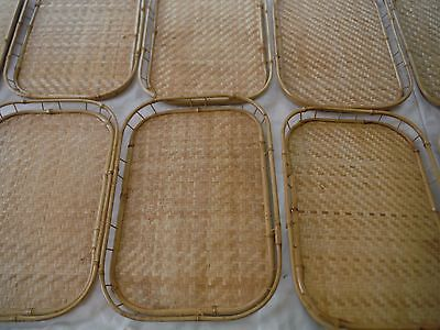 Lot of 10 Vintage Tiki Bamboo Rattan Wicker Bed Breakfast Lap Serving Trays