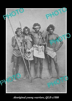 OLD LARGE HISTORICAL PHOTO OF ABORIGINAL GROUP OF YOUNG WARRIORS, c1880 QLD
