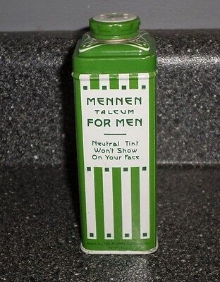 Art Deco Tin Mennen Talcum shave powder For Men 4 Oz 1930's 1940's SEALED full
