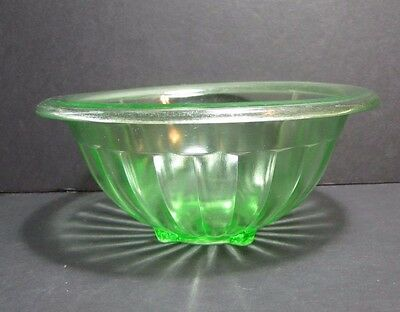 Vintage Green Depression Vaseline Glass Ribbed Mixing Bowl with Rolled Rim