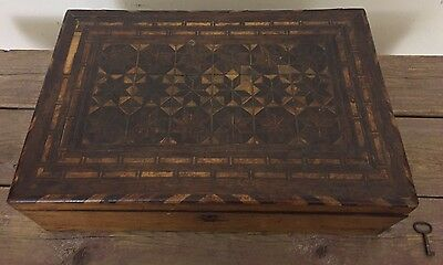 Antique New England Marquetry Wood Sewing Box With Key Inlaid Stars Motif