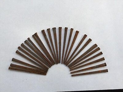 "LOT OF 25 -  ""OLD/VINTAGE"" SQUARE CUT STEEL NAILS, 2""   Art Project Furniture"