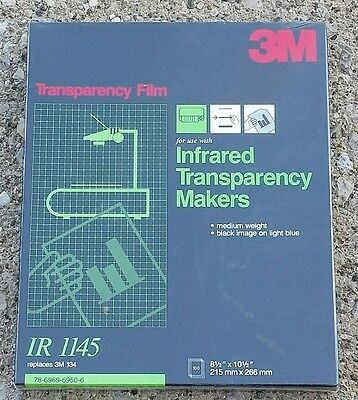 "3M TRANSPARENCY FILM IR 1140 AV Projector Infrared Makers 100 8 1/2""x 10 1/2"""