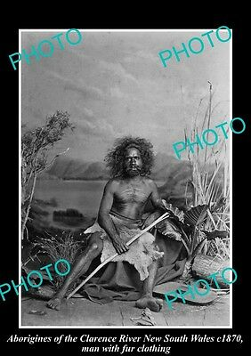 OLD HISTORICAL ABORIGINAL PHOTO OF MAN WITH FUR RUG, CLARENCE RIVER NSW c1870