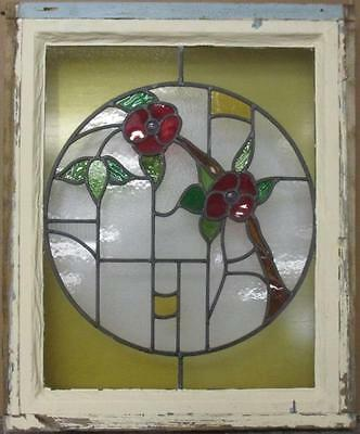 """MID SIZED OLD ENGLISH LEADED STAINED GLASS WINDOW Stunning Floral 22.25"""" x 27"""""""