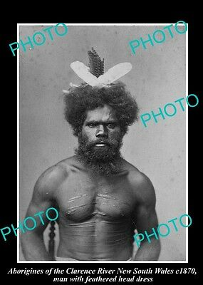 OLD HISTORICAL ABORIGINAL PHOTO OF MAN WITH HEAD DRESS, CLARENCE RIVER NSW c1870