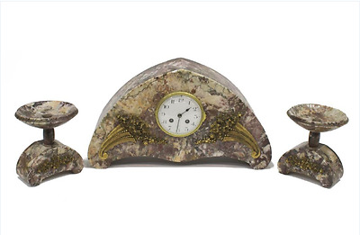 French Art Deco Marble Mantle Clock Set With Garnitures
