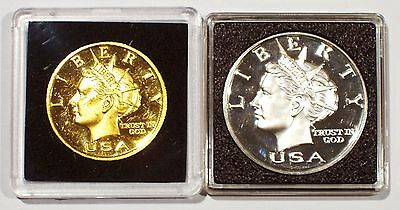 2000 Norfed 1 Ounce .999 Fine Silver & Gold American Liberty Currency In Holders