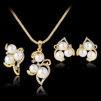 Crystal Pearl 18K Gold Plated Necklace Earrings Ring Wedding Party Jewelry Set