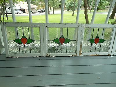 L316 Older Art Deco Style Leaded Stained Glass Window F/England 6 Available