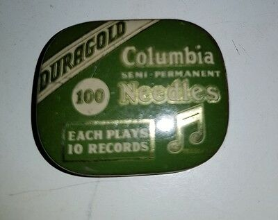 Vintage gramophone columbia duragold needle tin great condition