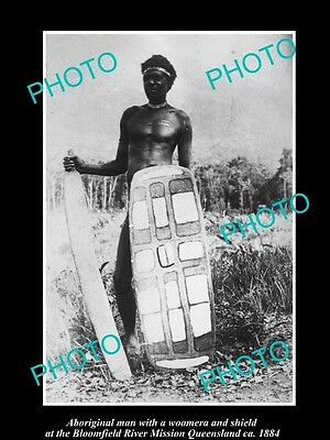 OLD LARGE HISTORIC PHOTO OF ABORIGINAL MAN WITH WOOMERA & SHIELD c1889 QLD