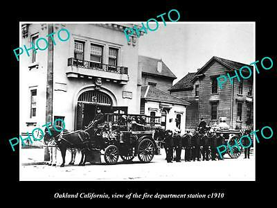 Old Large Historic Photo Of Oakland California, The Fire Department Station 1910