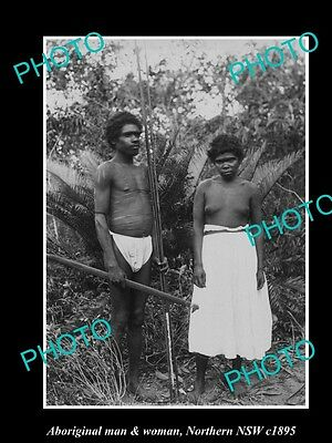 OLD LARGE HISTORICAL PHOTO OF ABORIGINAL MAN & WOMEN, NORTHERN NSW c1895
