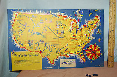 50s Coast-to-Coast Stores Cross Country Map Game vtg Coast to Coast Advert Promo