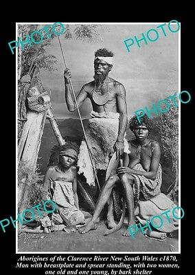 OLD HISTORICAL ABORIGINAL PHOTO OF MAN WITH BREASTPLATE CLARENCE RIVER NSW c1870
