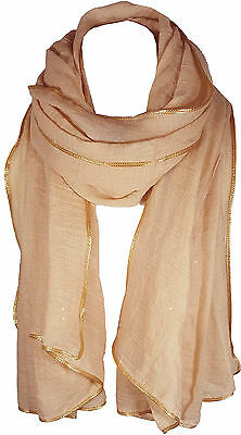 Beige Women's Glitter Sparkle Star Dust with GOLD PIPING Scarf Wrap