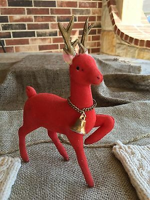 Vintage 1960's  Flocked Red Prancing Reindeer With Chain Jingle Bell Decoration