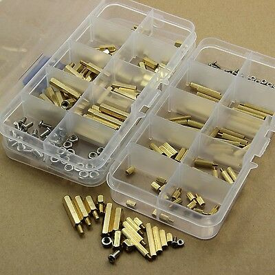 240Pcs M2 M3 Brass Spacer Standoff Screw Nut Assortment Kit