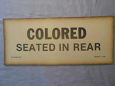 "1929 COLORED SEATED IN REAR PAPER SIGN 5"" x 12"" BLACK AMERICANA"