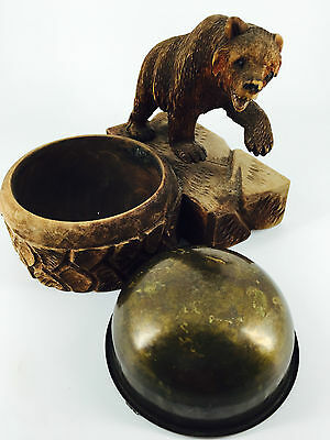 Antique 1900's Linden Wood Black Forest Bear carved ashtray/pin/tray/cufflinks