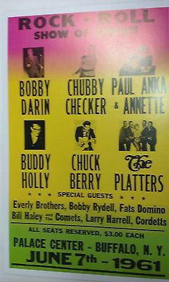 """BUDDY HOLLY CHUBBY CHECKER CHUCK BERRY THE PLATTERS 1961 CONCERT POSTER 14"""" x 22"""