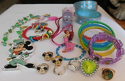 Huge Lot Mixed Children's Jewelry Bracelets Rings Necklaces Pin DISNEY Lot D8
