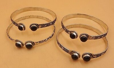 4Pcs. Lot Beauteous Black Onyx 925 Silver Overlay Bangle KA5065
