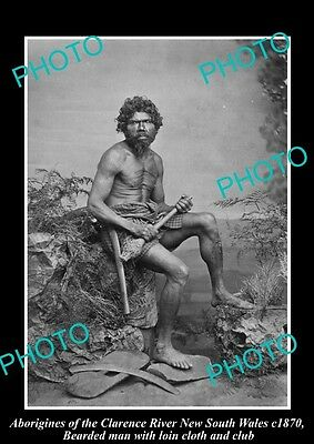 OLD HISTORICAL ABORIGINAL PHOTO OF MAN WITH CLUB, CLARENCE RIVER NSW c1870