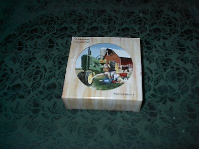 John Deere Boy W/tractor Stone Coaster Set Of 4-New-Donald Zolan Design