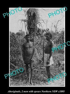 OLD LARGE HISTORICAL PHOTO OF ABORIGINAL TWO MEN WITH SPEARS, NORTHERN NSW c1895
