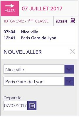 Billet De Train Nice-Paris 7 Juillet Matin 1ère