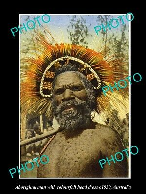 OLD LARGE HISTORIC PHOTO OF AUSTRALIAN ABORIGINAL MAN IN COLOUR HEAD DRESS c1930