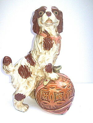 Large Cavalier King Charles Spaniel Dog Ceramic Figurine - Chinese Foo Dog Style