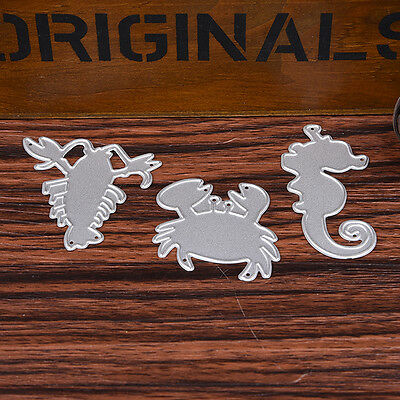 3pcs Crab Lobster Stencil Cutting Dies Scrapbooking Embossing Album Card Craft