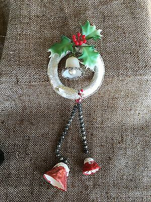 Vintage Silver Foil Wreath,Glitter Celluloid Sugar Bell,Mercury Glass Decoration