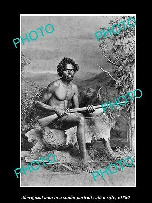 OLD LARGE HISTORIC PHOTO OF ABORIGINAL MAN WITH RIFEL c1900