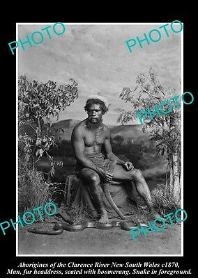 OLD HISTORICAL ABORIGINAL PHOTO MAN & SNAKE, CLARENCE RIVER NSW c1870