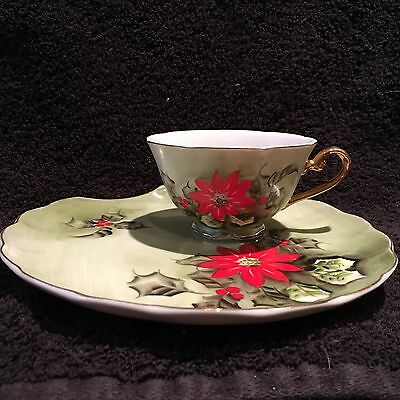 Vtge Lefton Ltd Ed China Painted Christmas Poinsettia Holly Snack Set Cup Plate