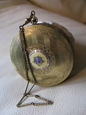 Antique Art Deco Gold Silver T Yellow Guilloche Purple Pansy Dance Compact DFBCo