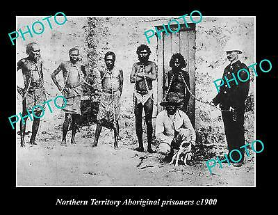 OLD LARGE HISTORIC PHOTO OF NORTHERN TERRITORY ABORIGINAL PRISONERS c1900