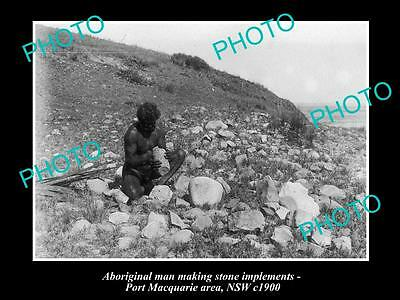 OLD LARGE HISTORICAL PHOTO OF ABORIGINAL MAN MAKING STONE IMPLEMENTS c1900 NSW
