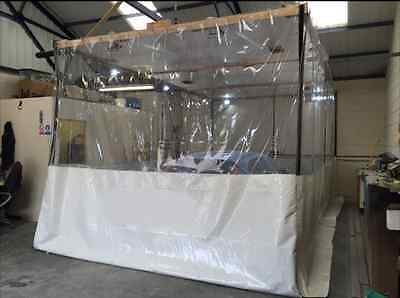 Paint Booths Half Clear / White Compressor Working Dust Curtains  30 Ft X 10 Ft