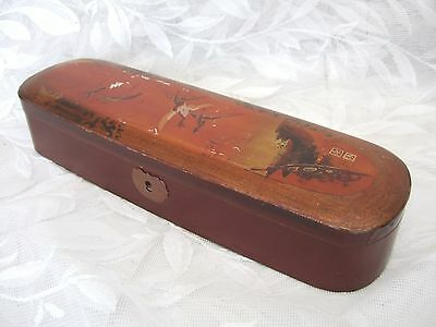 Unusual Vintage Oriental Black & Brown Lacquered Glove Box - Cranes  -Signed