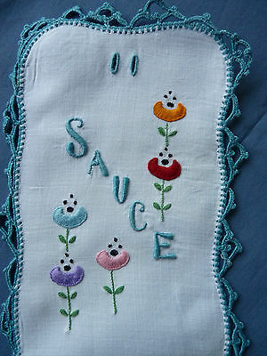 SO SAUCY! Vintage Hand Embroidered Sauce Bottle Cover