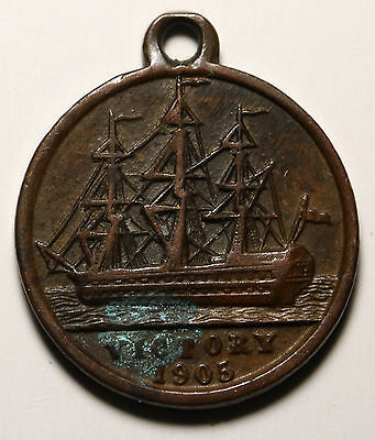 UK GB HMS Victory Medalet 1905 Nelson Centenary Made from Victory's Copper