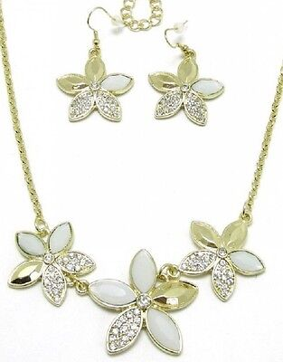 Gold & White Bead Crystal Flower Necklace and Earrings Set